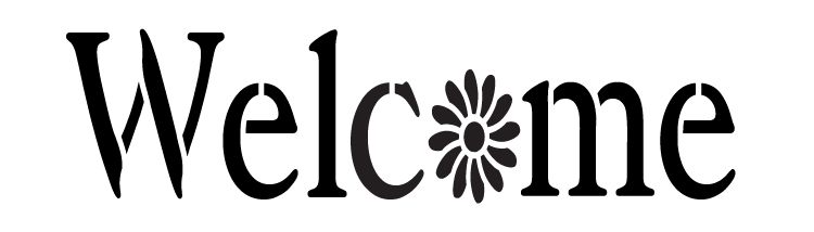 "Welcome -Vintage Serif with Flower - Horizontal - Word Stencil -  7"" x 2"" - STCL1190_1"