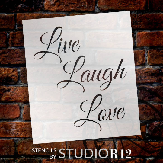 "Live, Laugh, Love - Trendy Script - Word Stencil - 6 1/2"" x 7 1/2"" - STCL1193_1"