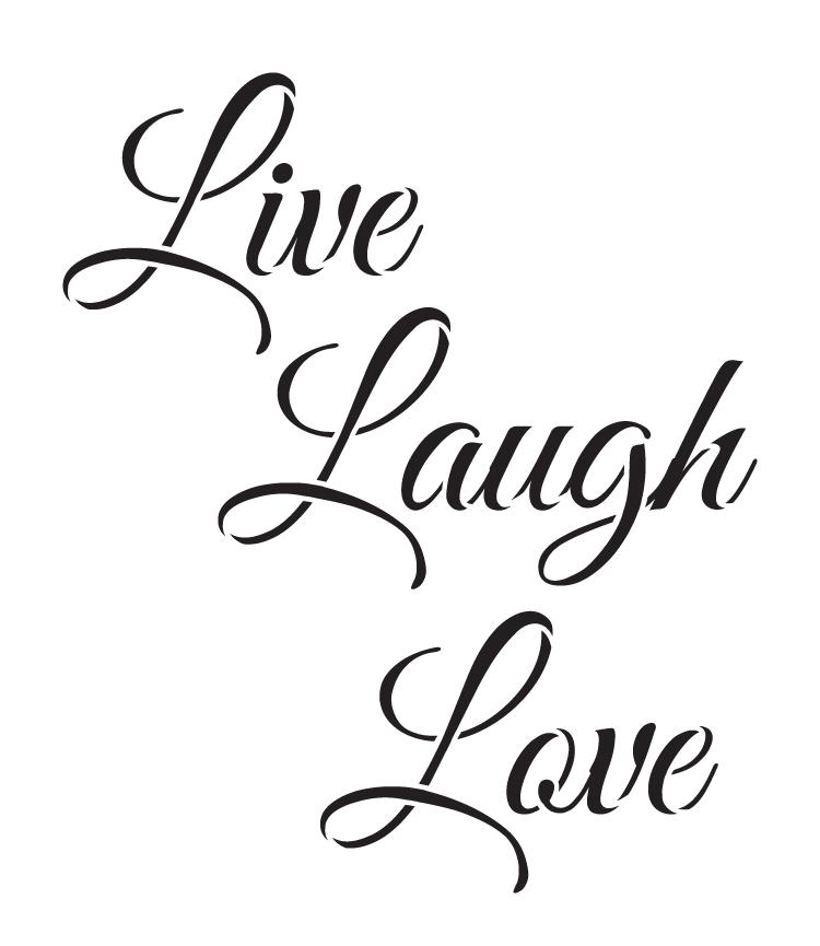 "Live, Laugh, Love - Trendy Script - Word Stencil - 14"" x 16.5"" - STCL1193_3"
