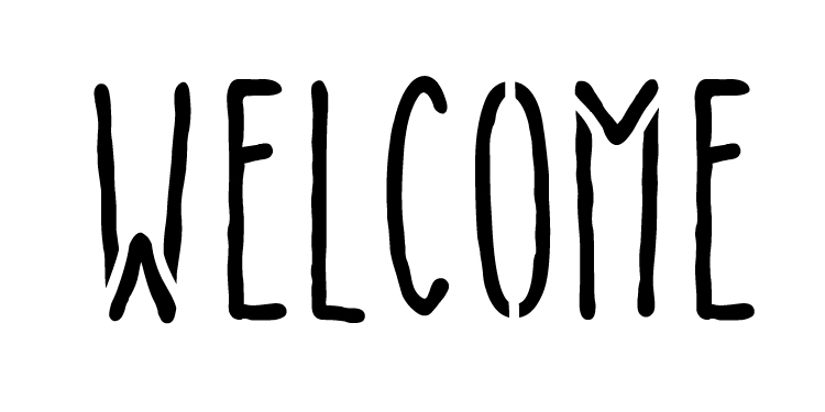 "Welcome - Skinny Handwritten - Horizontal - Word Stencil - 5"" x 2.5""- STCL1197_1"