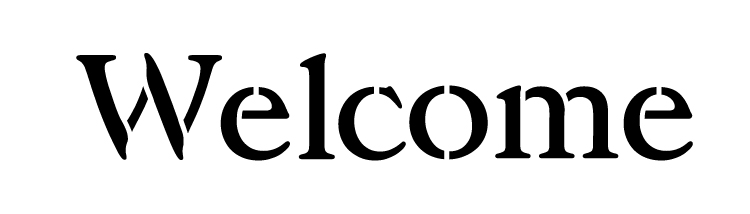 "Welcome - Vintage Serif - Horizontal - Word Stencil -23"" x 7""- STCL1198_4"