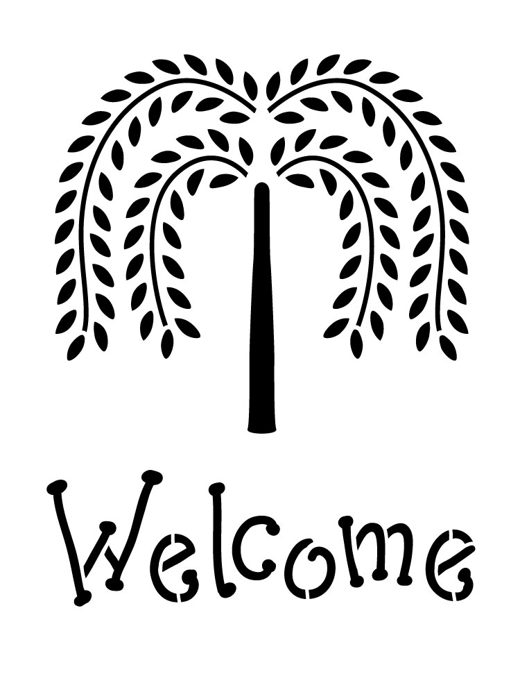 """Willow Tree Welcome - Word Art Stencil - 12.5"""" x 16.5"""" -STCL1206_2"""