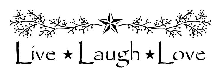 """Live, Laugh, Love - Primitive - Word Art Stencil - 21"""" x 7.5"""" - STCL1207_2"""