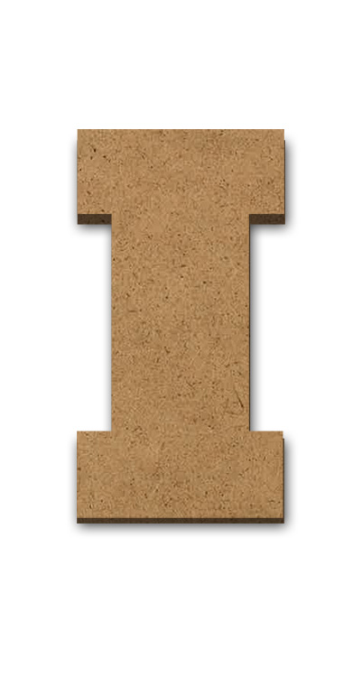 """Wood Letter Surface - I - 4"""" x 1 1/4"""""""