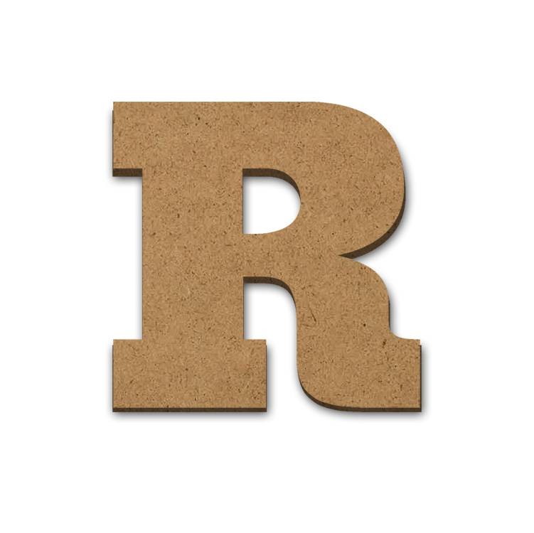 """Wood Letter Surface - R - 4"""" x 4"""""""