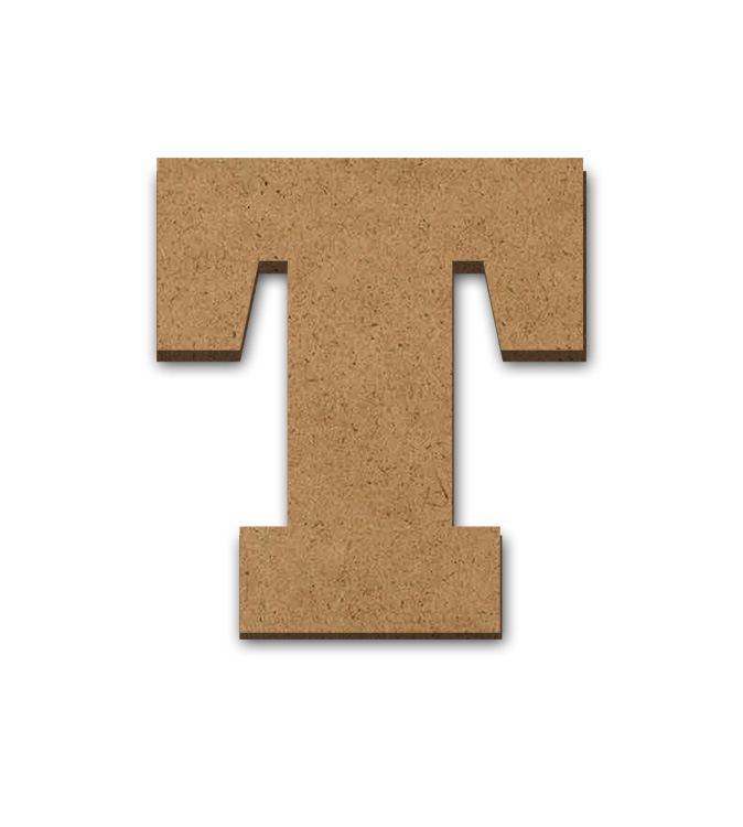 "Wood Letter Surface - T - 6"" x 5 3/4"""