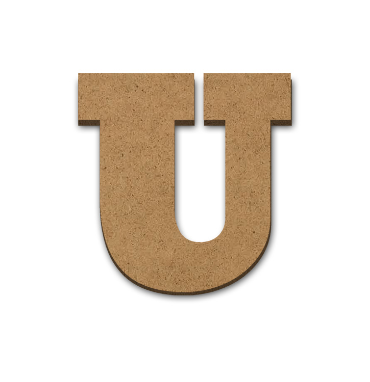 "Wood Letter Surface - U - 12"" x 12"""