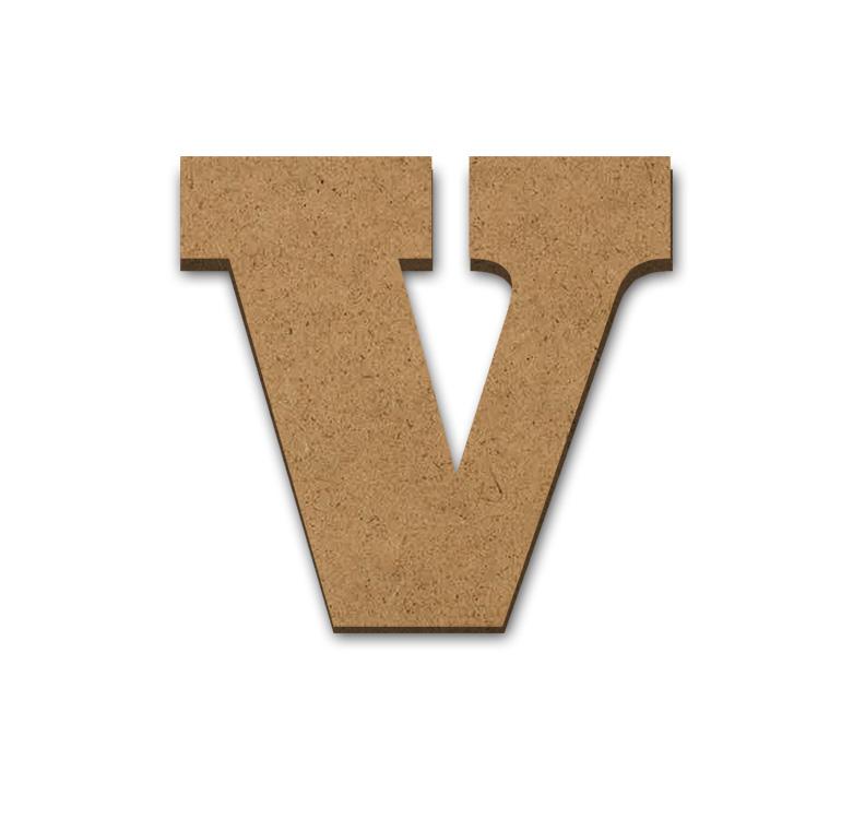 """Wood Letter Surface - V - 4"""" x 4 1/8"""""""