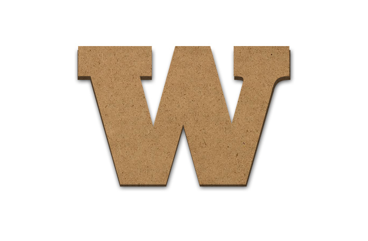 "Wood Letter Surface - W - 9"" x 13 3/4"""