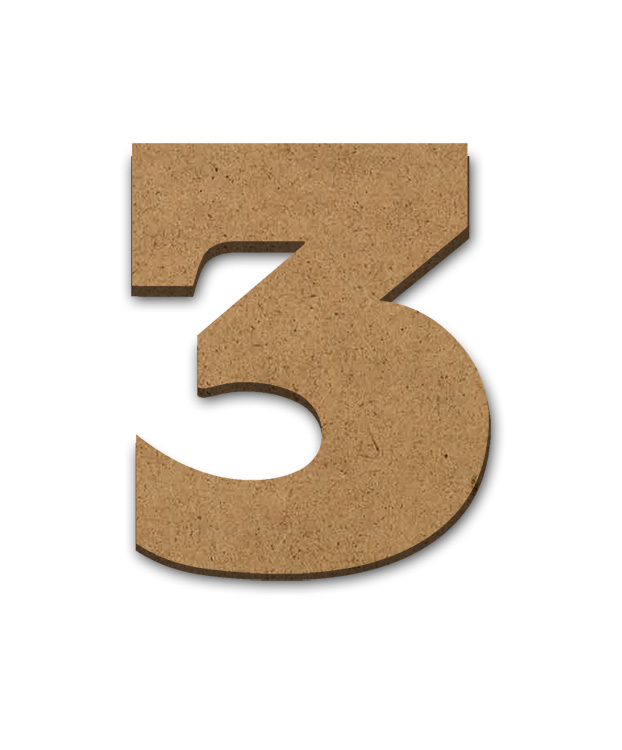 """Wood Letter Surface - 3 - 4"""" x 3 3/8"""""""