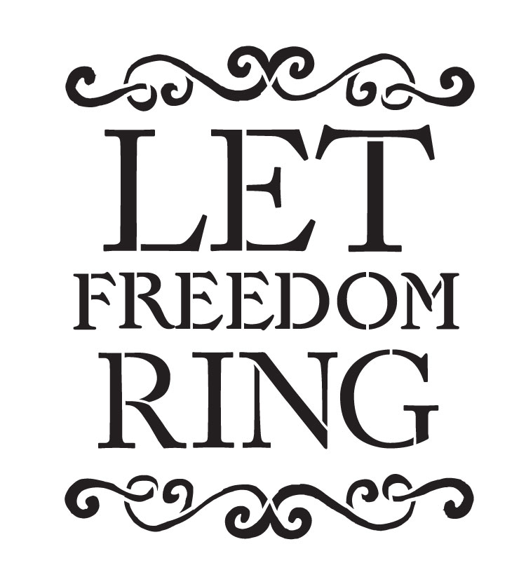 """Let Freedom Ring - Word Stencil - 9"""" x 10"""" - STCL1235_1 by StudioR12"""