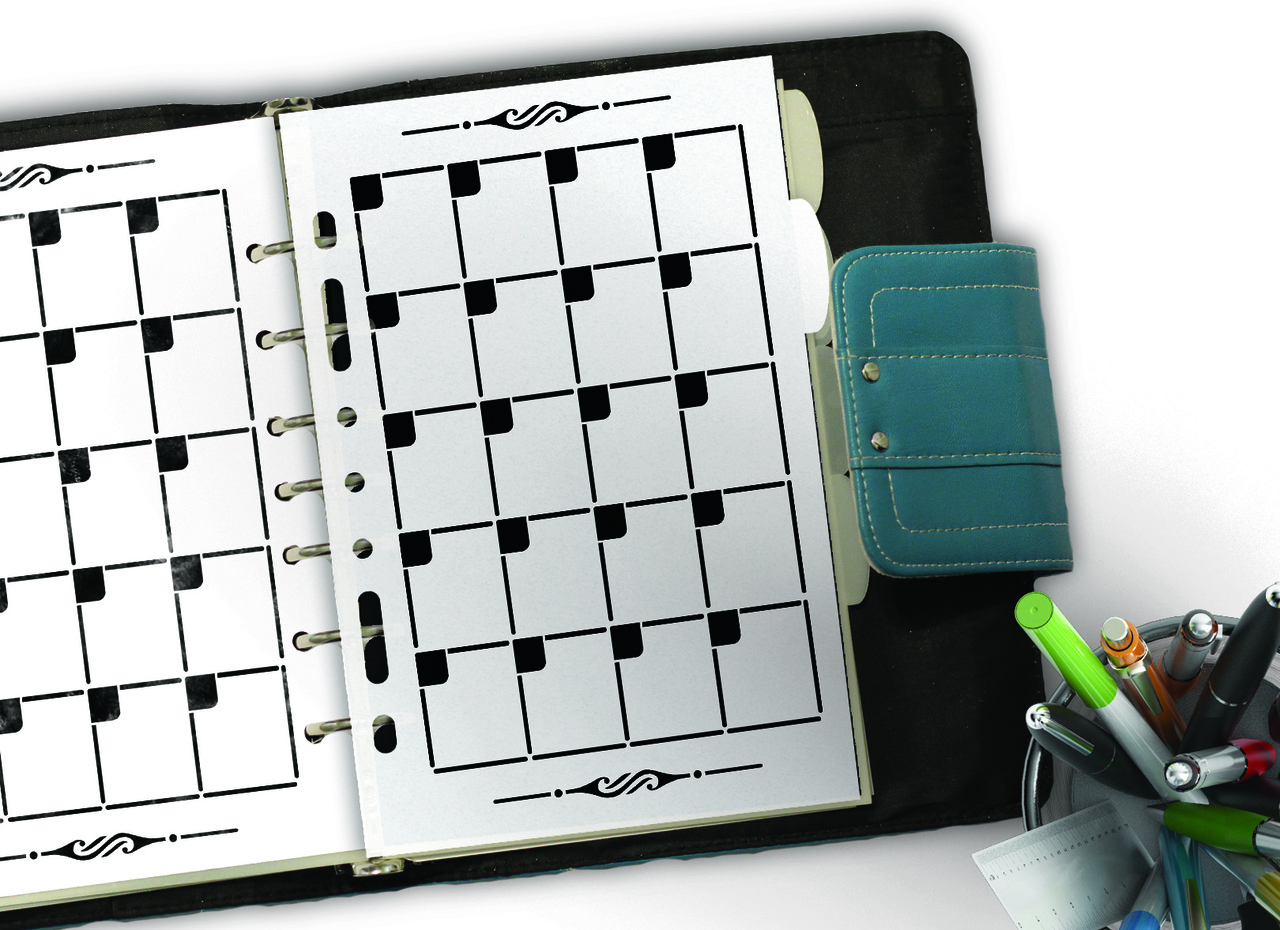 Monthly Calendar Template Planner Stencil