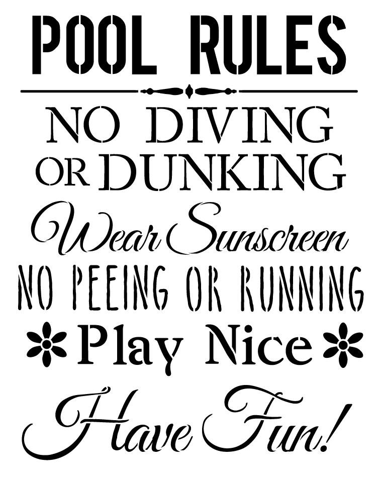"Pool Rules - Word Stencil - 16 1/2"" x 21"" - STCL1214_2 by StudioR12"