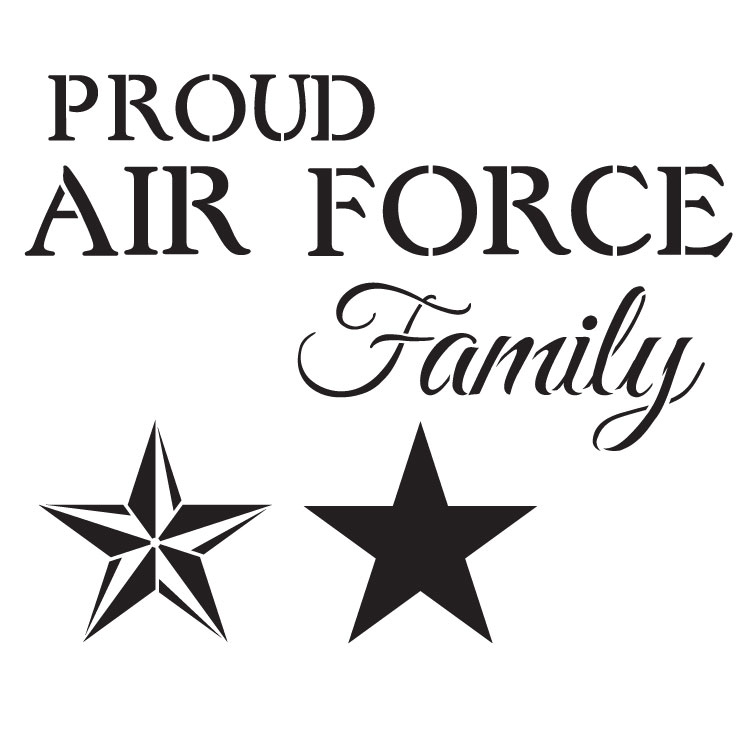 """Proud Air Force Family - Word Art Stencil - 14"""" x 14"""" - STCL1241_2 by StudioR12"""