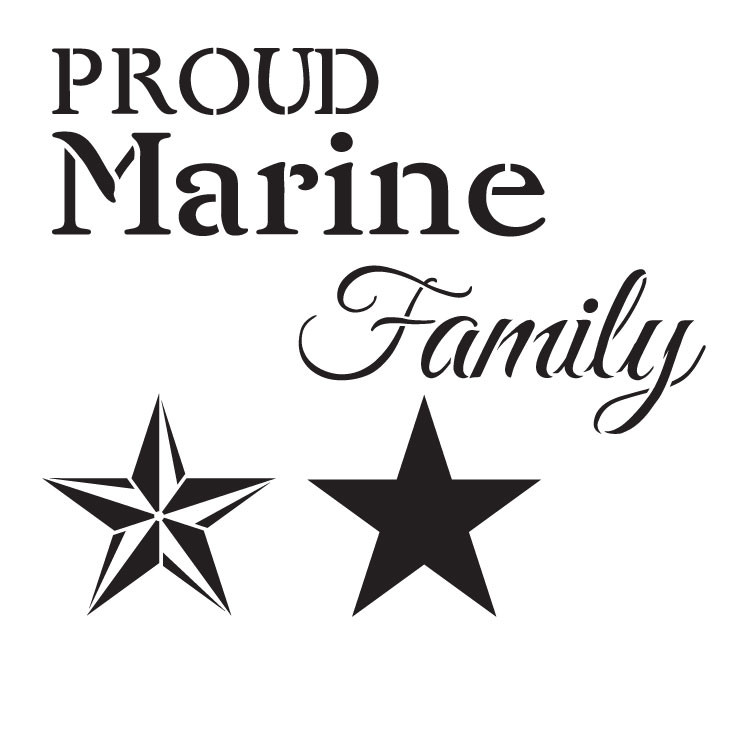"Proud Marine Family - Word Art Stencil - 14"" x 14"" - STCL1242_2 by StudioR12"