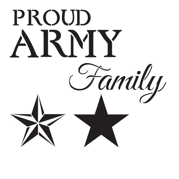 """Proud Army Family - Word Art Stencil - 11"""" x 11"""" - STCL1243_1 by StudioR12"""