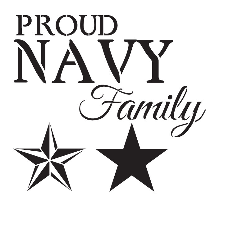 """Proud Navy Family - Word Art Stencil - 11"""" x 11"""" - STCL1244_1 by StudioR12"""