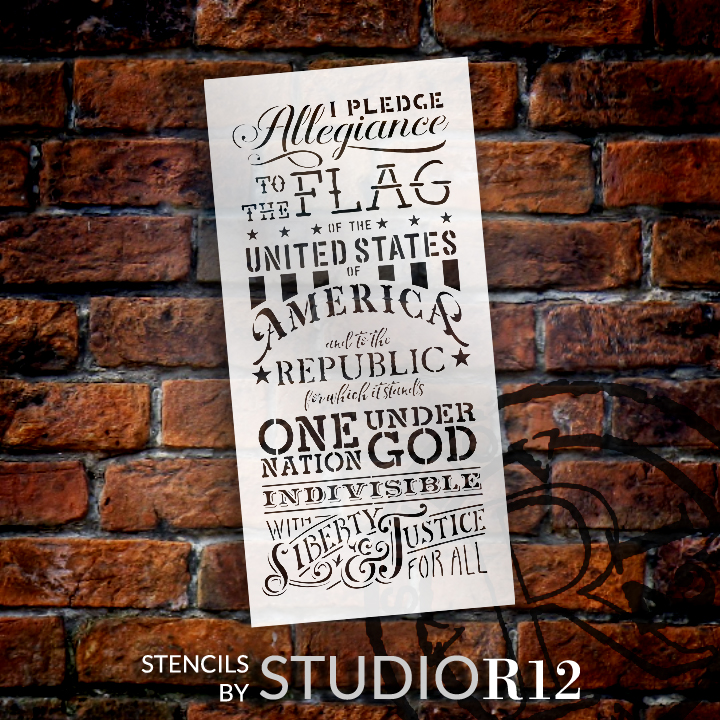 "Pledge of Allegiance - Word Stencil -  12"" x 24"" - STCL1250_2 by StudioR12"