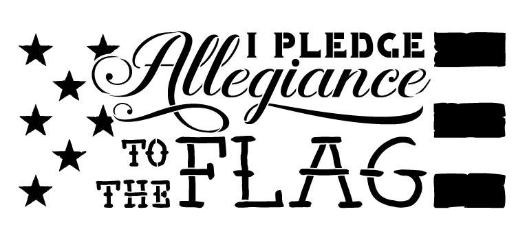 "I Pledge Allegiance To The Flag- Word Art Stencil -  22"" x 10"" - STCL1251_3 by StudioR12"