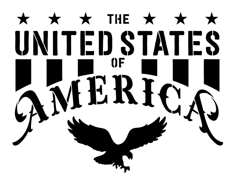 """The United States of America - Word Art Stencil -  16.5"""" x 12.5"""" - STCL1252_2 by StudioR12"""