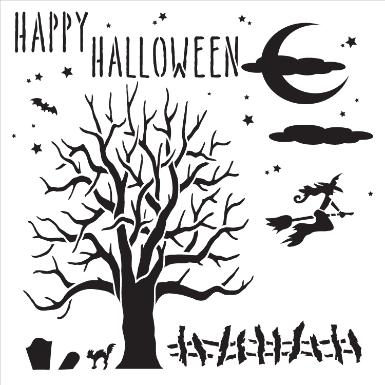 "All Hallows Eve - Art Stencil - 15"" x 15"" - STCL1182_2"