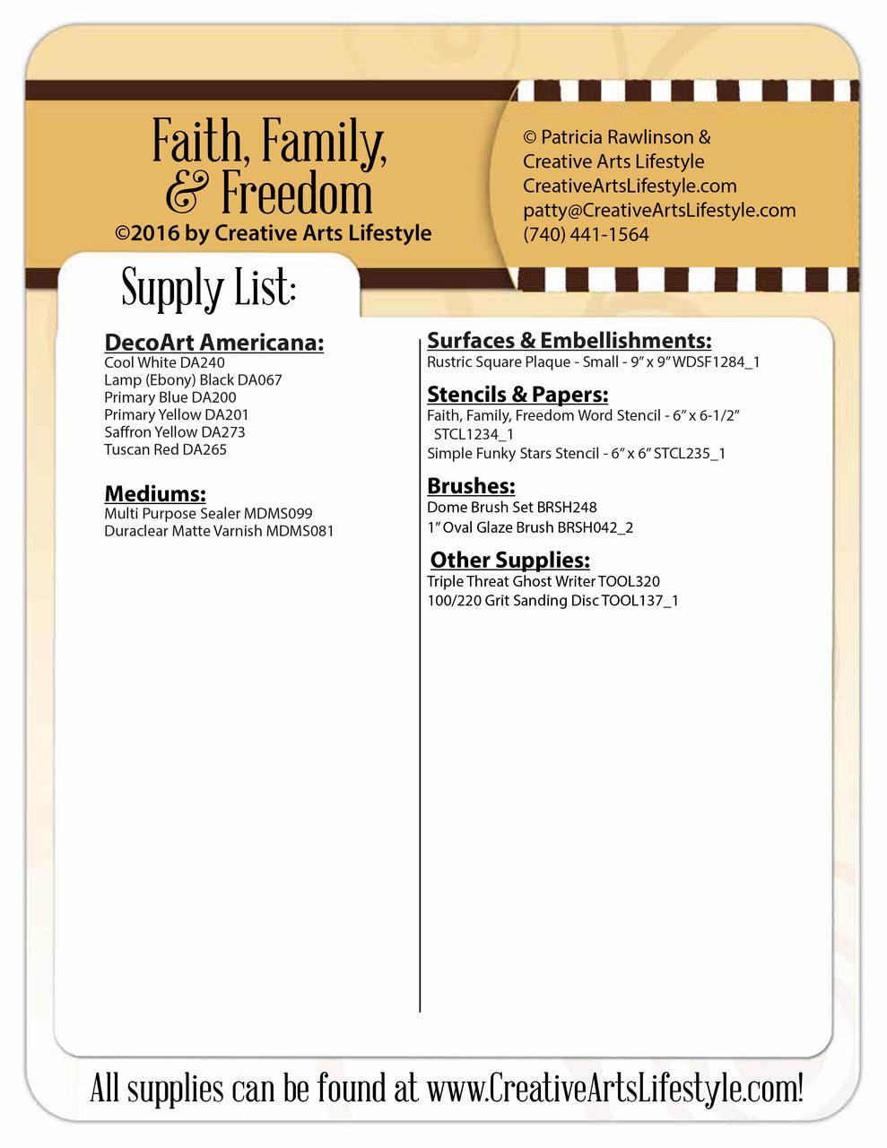 Faith, Family, & Freedom Pattern Packet - Patricia Rawlinson