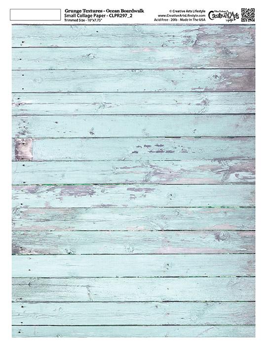 "Grunge Textures - Ocean Boardwalk - 8 1/2"" x 11""  (7-3/4"" x 10"" artwork area)"