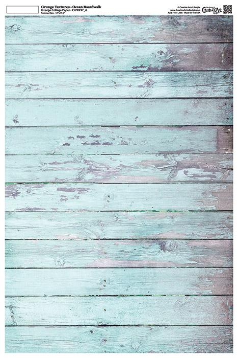 "Grunge Textures - Ocean Boardwalk -12"" x 18"" (artwork dimensions - 11-1/2"" x 17"")"