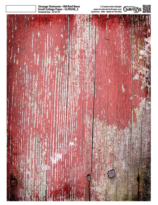 """Grunge Textures - Old Red Barn - 8 1/2"""" x 11"""" 8 1/2"""" x 11""""  (7-3/4"""" x 10"""" artwork area)"""