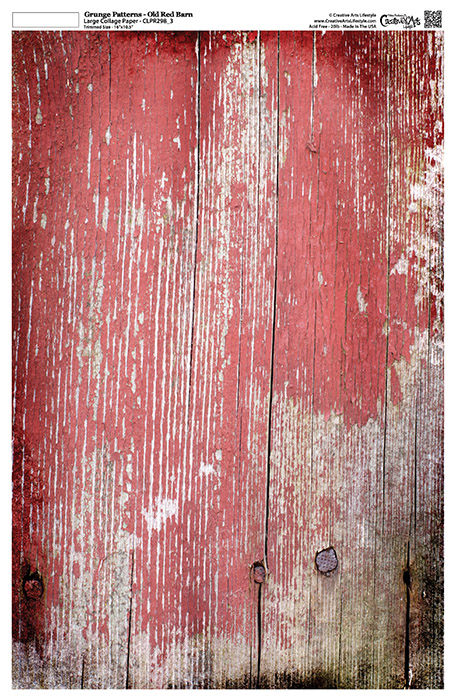 """Grunge Textures - Old Red Barn - 12"""" x 18"""" (artwork dimensions - 11-1/2"""" x 17"""")"""
