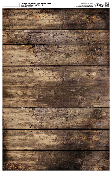 """Grunge Textures - Rich Rustic Wood - Collage Paper - 11"""" x 17"""" (10.5"""" x 16.25"""" artwork area)"""