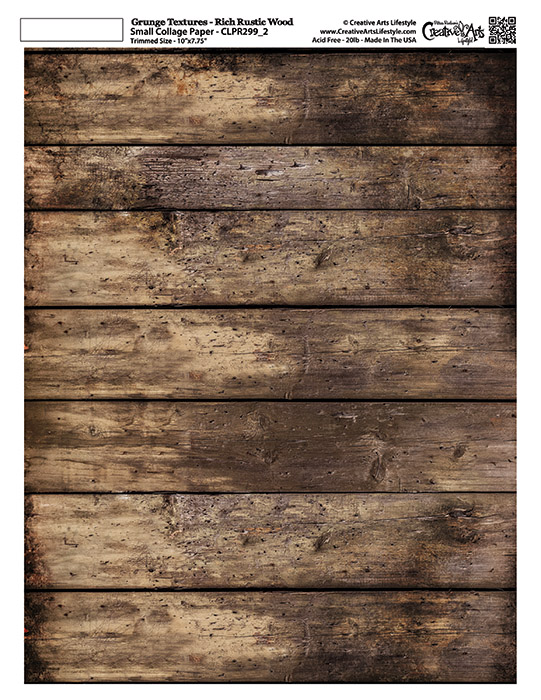 """Grunge Textures - Rich Rustic Wood - 8 1/2"""" x 11""""  (7-3/4"""" x 10"""" artwork area)"""