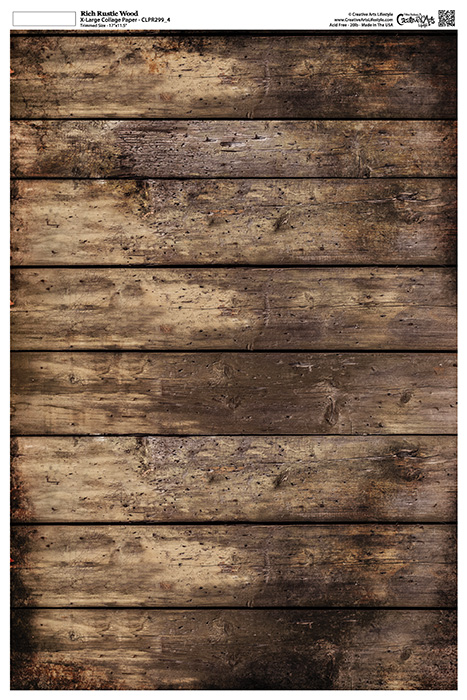 "Grunge Textures - Rich Rustic Wood - 12"" x 18"" (artwork dimensions - 11-1/2"" x 17"")"