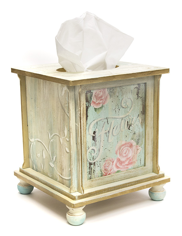 French Roses Tissue Box - Pattern Packet by Patricia Rawlinson