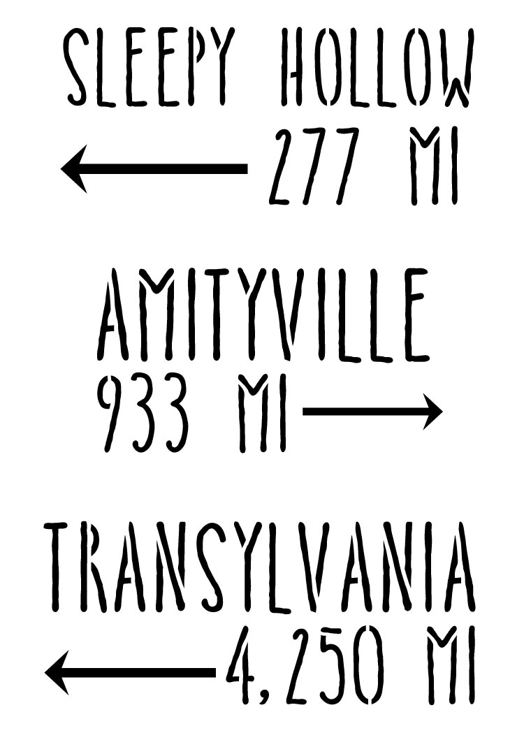 """Spooky Mile Markers - Word Art Stencil - 8 1/2"""" x 12"""" - STCL1272_1 by StudioR12"""
