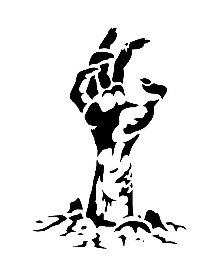 "Zombie Hand - Art Stencil - 9"" x 7"" - STCL1282_2 by StudioR12"