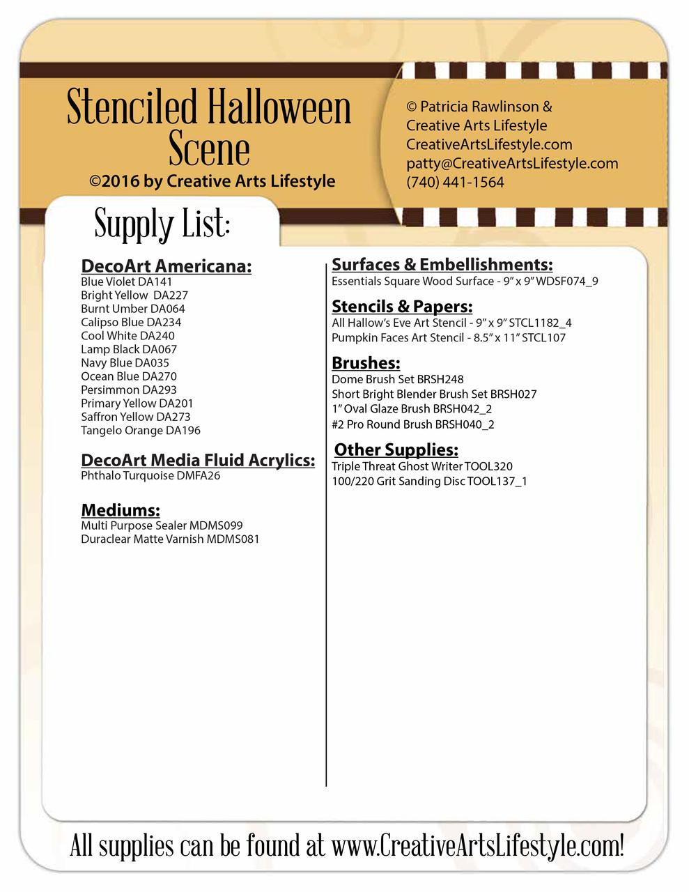 Stenciled Halloween Scene - E-Packet - Patricia Rawlinson