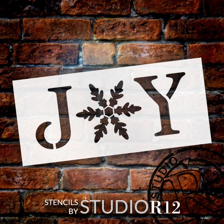 """Joy - Vintage Serif w/ Snowflake -  Word Stencil - 5.5"""" x 2.5"""" - STCL1262_1 by StudioR12"""