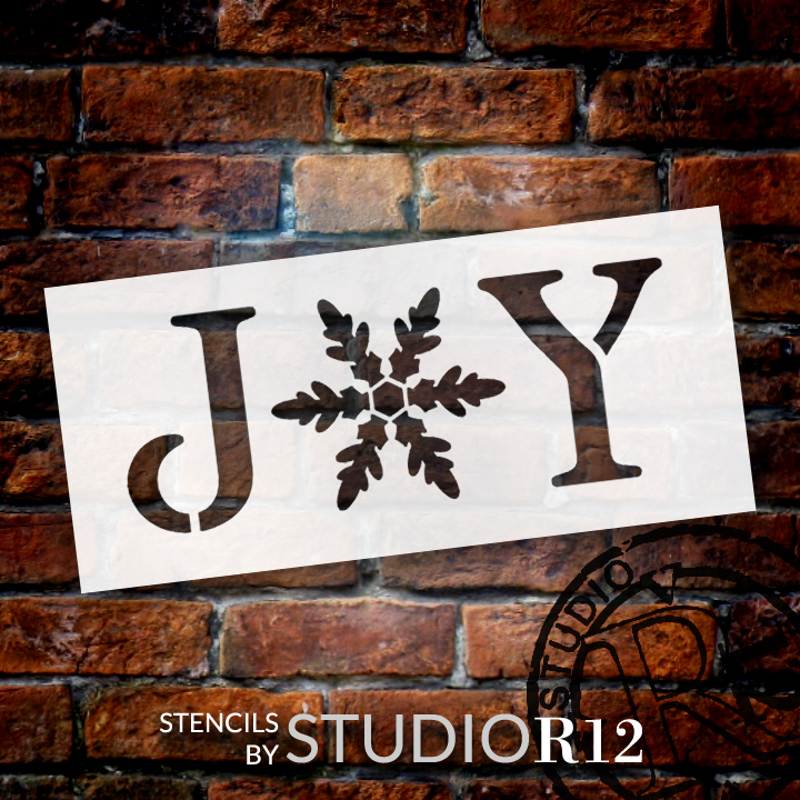 """Joy - Vintage Serif w/ Snowflake -  Word Stencil - 8.5"""" x 3.5"""" - STCL1262_2 by StudioR12"""