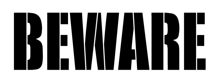 """Beware - Simple Chunky - Word Stencil - 12"""" x 4 1/2 """" - STCL1289_2 by StudioR12"""