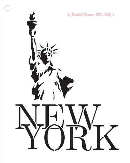 "New York Lady Liberty - Art Stencil - 6"" x 7.5"" - STCL1302_1"