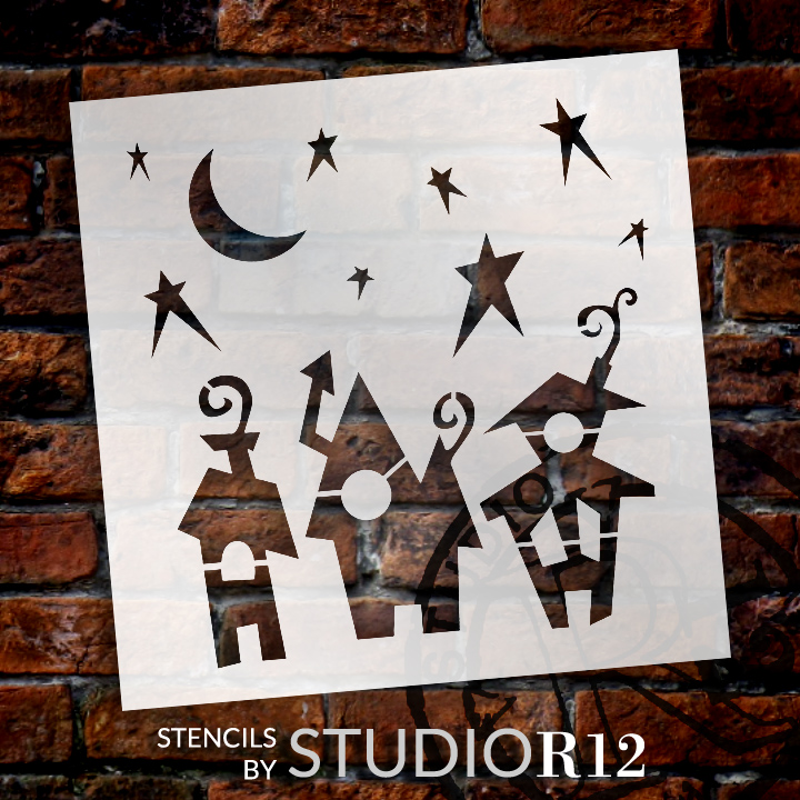 "Spooky Town Embellishment Stencil-  ""6  x 6"" -STCL1305_1 - by StudioR12"