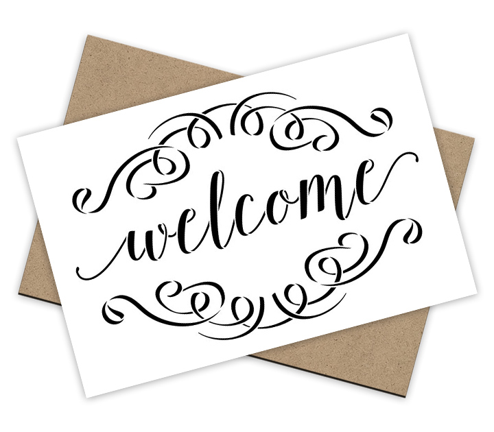 Welcome - Brushed Script Stencil + Surface