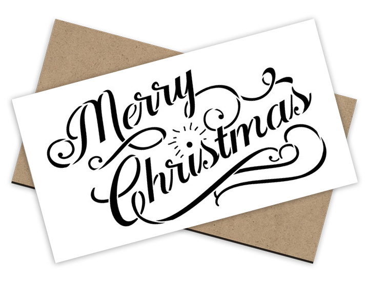 Merry Christmas Stencil - Elegant Vintage + Surface