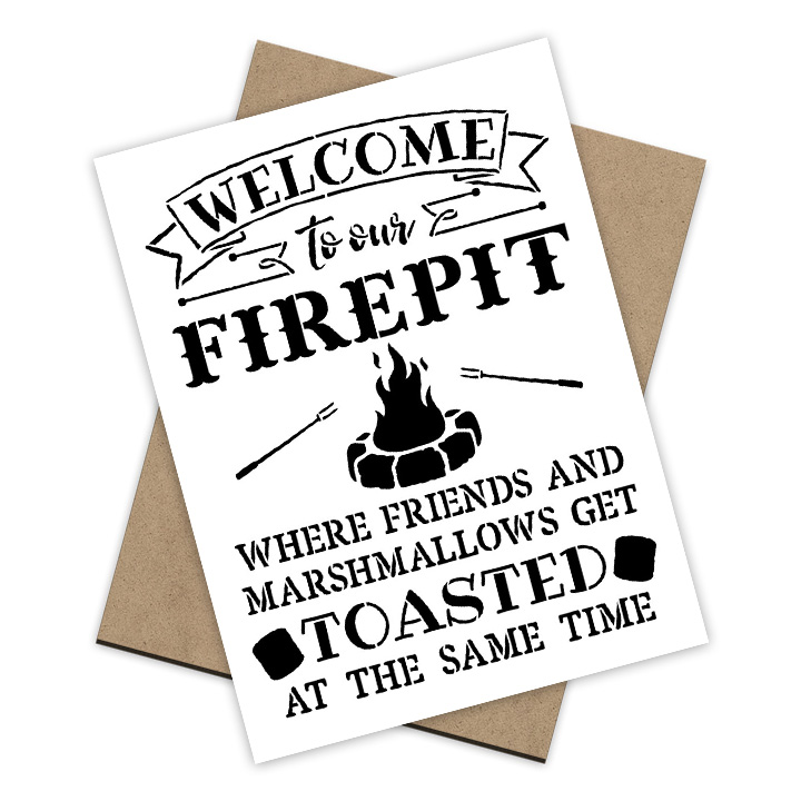 Welcome to Our Fire pit Stencil  + Surface