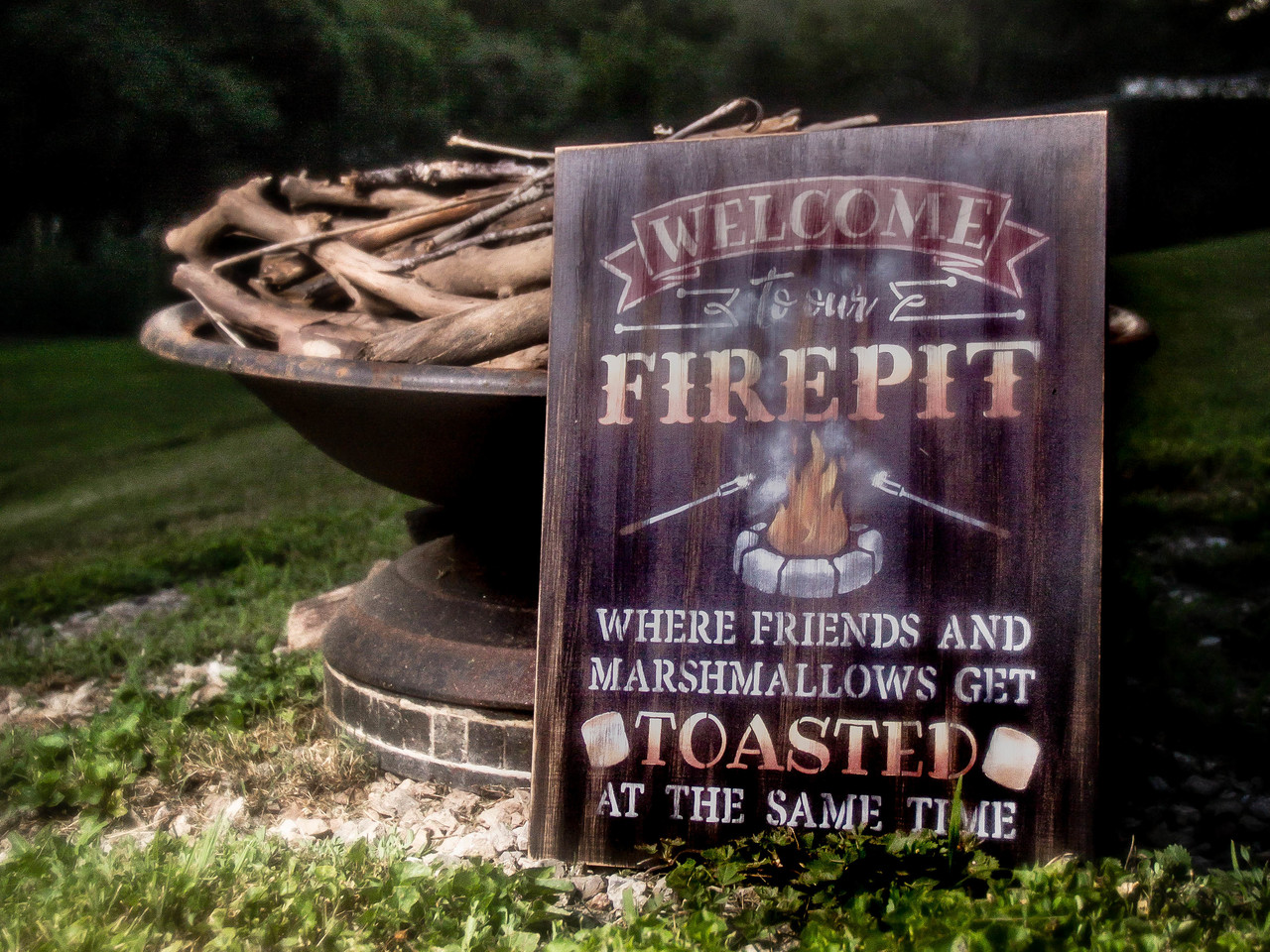 "Welcome to our Fire pit Word Art Stencil  - 13"" X 18"""
