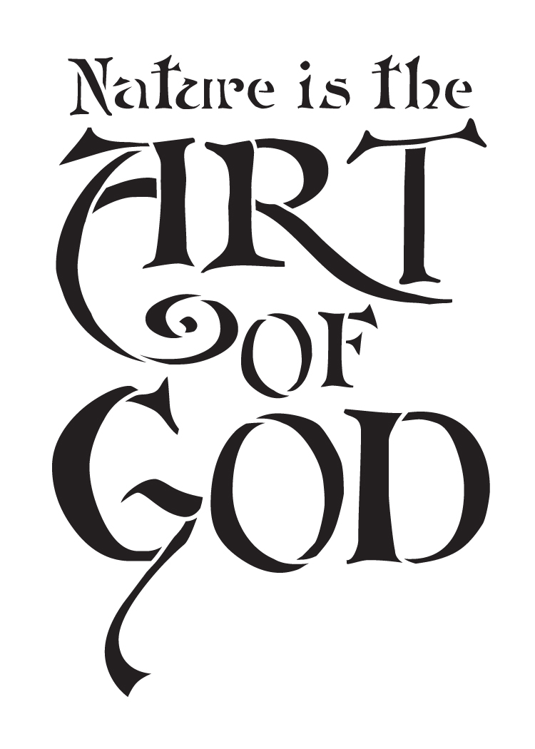 """Nature Is the Art of God - Word Stencil - 7 1/2"""" x 10 1/2"""" - STCL1330_2 by StudioR12"""