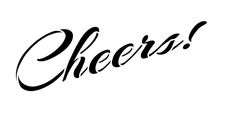 "Cheers - Rising Script - Word Stencil - 9"" x 4"" - STCL1333_2 by StudioR12"