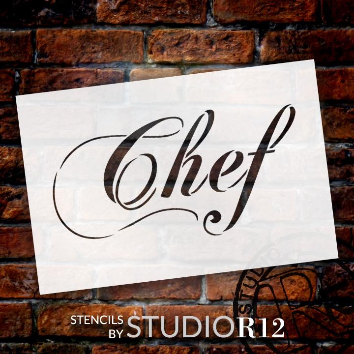 "Chef - Elegant Script - Word Stencil - 10"" x 6"" - STCL1336_2 by StudioR12"