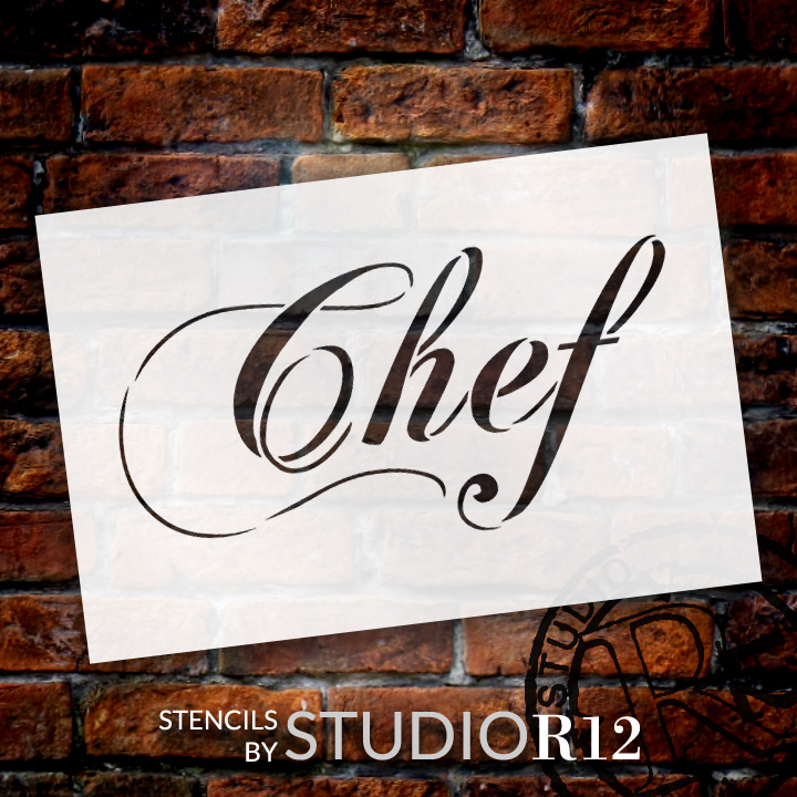 "Chef - Elegant Script - Word Stencil - 14"" x 8"" - STCL1336_3 by StudioR12"